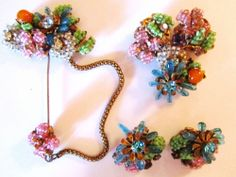 Vintage Signed Miriam Haskell Bookpiece Stick Pin/Brooch/Earring Demi Parure