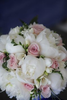 white peonies, pale pink roses and fresh freesias for this lovely sorrento wedding bouquet White Peonies Bouquet, Pink Rose Bouquet, Bridal Bouquet Pink, Purple Bouquets, Brooch Bouquets, Flower Bouquets, Pink Peonies, Bridesmaid Bouquet White, White Wedding Bouquets