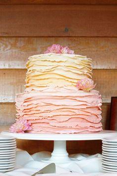 Ruffled Pastel Wedding Cake