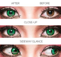 Best Green contacts, EOS Dolly Eye Green rated the most vibrant green colors lenses and perfect for cosplay character Shego, Starfire, Midoriya izuku and more. Green Colored Contacts, Green Contacts Lenses, Korean Natural Makeup, Cosplay Contacts, Eyes Artwork, Crazy Eyes, Circle Lenses, Cosplay Characters, Color Lenses