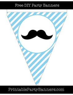 Baby Blue and White Pennant Diagonal Striped English Mustache