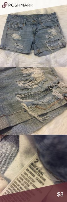 Destroyed Denim Shorts Light wash American Eagle destroyed shorts. Size 2. Have a very small blue stain as shown in the photo. Feel free to ask any additional questions.   💕 please make offers through offer button 💰 bundle for a 20% off discount  🚬🐶 smoke & pet free home  🚫 sorry no trades American Eagle Outfitters Shorts