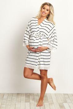 White Striped Lace Trim Delivery/Nursing Maternity Robe