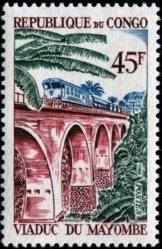 Viaduc du Mayombe. Republic of the Congo stamp, circa 1968