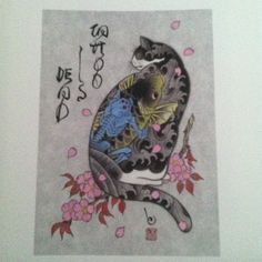 Kazuaki Horitomo Kitamura, Monmon Cats 18 - He is a tattoo artist, but he has published 2 books of his work so I am putting this in Illustration Japanese Drawing, Japanese Cat, Japanese American, I Love Cats, Crazy Cats, Cool Cats, Art And Illustration, Illustrations, Tattoo Gato