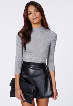Eleanor Long Sleeve Jersey Turtle Neck Top - Tops - Missguided