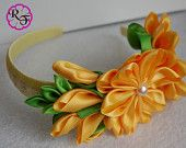 Items similar to Kanzashi flower , yellow  flower Headband , Kanzashi Headband on Etsy