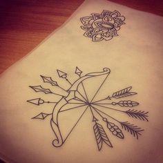 Mandala Bow And Arrow Tattoo Design Arrow Tattoo Design, Mandala Tattoo Design, Tattoo Designs, Trendy Tattoos, Small Tattoos, Tattoos For Guys, White Tattoos, Tattoo Small, Neue Tattoos