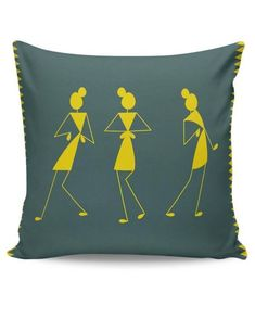 Buy Cushion Covers: Shop for designer print cushion covers online in india. Cushion Covers Online, Cushion Cover Designs, Pillow Cover Design, Diy Cushion Covers, Pillow Covers, Worli Painting, Fabric Painting, Fabric Art, Diy Pillows