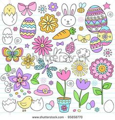 Easter Notebook Doodles Vector Design Elements Set with Daffodils, Bunny, Easter Eggs, and Chicks on Lined Sketchbook Paper Background