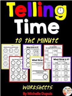 Practice telling time to the minute with these print and go worksheets.