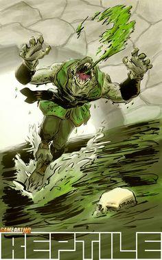 Mortal Kombat Art Tribute: Reptile from Mortal Kombat Deadly Alliance Reptile Mortal Kombat, Mortal Kombat Art, Universe Art, Comics Universe, Dojo, Japanese Mask, Mortal Combat, Creature Design, Cool Artwork