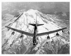 """Boeing YB-52 """"Stratofortress"""" over Mount Rainier, Washington"""