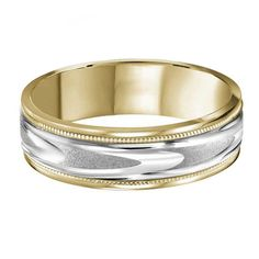 c2bb735470b0d Two Tone Arrow 6mm Mens Wedding Ring from Steven Singer Jewelers