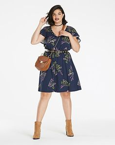 Printed Cape Sleeve Dress | Simply Be