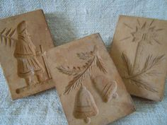 Vintage WOODEN Christmas COOKIE MOLDS Handcarved Germany