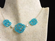 Ocean Teal Lace Rose Necklace with white Cats Eye by PeekoCrafts