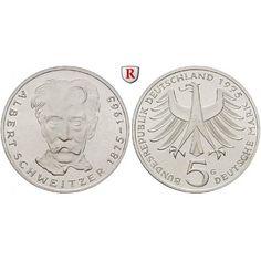 Bundesrepublik Deutschland, 5 DM 1975, Schweitzer, G, vz-st, J. 418: 5 DM 1975 G. Schweitzer. J. 418; vorzüglich-stempelfrisch 10,00… #coins