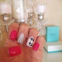Hot Pink Glitter Nails with Arrows - Summer Nails