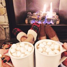 Hot chocolate by the fire #coldweather