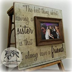 SISTER GIFT Picture Frame Wedding Thank You by thesugaredplums