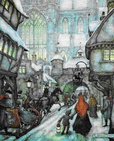 I fell in love with Anton Pieck 's work when I was 6 years old, and I still am very much in love with it today. Anton Pieck is a Dutch paint. Susan Wheeler, Illustrator, Anton Pieck, Dutch Painters, Dutch Artists, Children's Book Illustration, Book Illustrations, Winter Scenes, Graphic