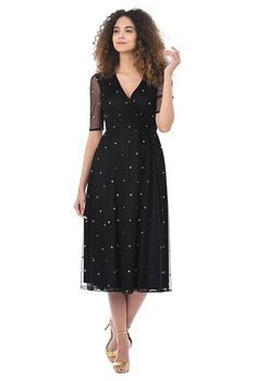 I <3 this Sequin polka dot tulle wrap dress from eShakti