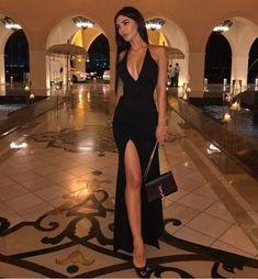 Vestidos Sexy Black Prom Dress, Halter Evening Dress,Split Long Prom Dresses Evening Dress from flordabridal Black Evening Dresses, Black Prom Dresses, Elegant Dresses, Sexy Dresses, Cute Dresses, Evening Gowns, Dress Black, Long Dresses, Evening Party