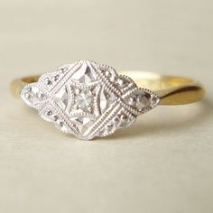 Art Deco Diamond Ring, Antique Diamond and 18k Gold Ring, Vintage Engagement Ring, Antique Wedding Ring Size US 7.25