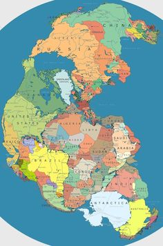 The 300 million year old supercontinent with current political borders.