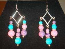 Purple, Pink, & Aqua Sandstone with Tibetan Silver Triple Dangle Earrings