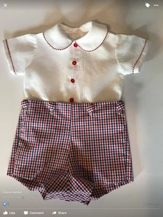 Boy's Button on Shorts and Shirt Set Size 6 Months by EmmiesTinyStitches on Etsy Baby Boy Dress Clothes, Heirloom Sewing, Blue Check, Baby Sewing, Vintage Looks, Little Boys, Red And Blue, White Shorts, Short Dresses