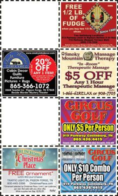 Smoky Mountains - Pigeon Forge Coupons - Gatlinburg Discount Coupons Gatlinburg Coupons, Smoky Mountains Attractions, Mountain Vacations, Tennessee Vacation, Shopping Coupons, Pigeon Forge, Discount Coupons, Spring Break, Tupperware Recipes
