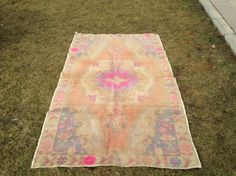 Oushak Rug 4.1 x 6.5 ft Muted Color Rug Pink by PatchArtsCarpet