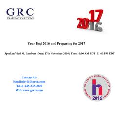 Description:  This webinar concentrates on preparing the department for the end of the calendar tax year and the new year processing.  Topics include reconciling, completing and submitting Form W-2 federal and state; update to annual changes from the IRS, SSA, DOL and on the state level; and best practices that will help make the year-end and year beginning go smoother. For More Details:  Email: david@grcts.com Tel: +1-248-233-2049