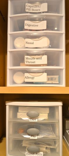 Great way to organize a medicine cabinet, using mini-drawers and labels