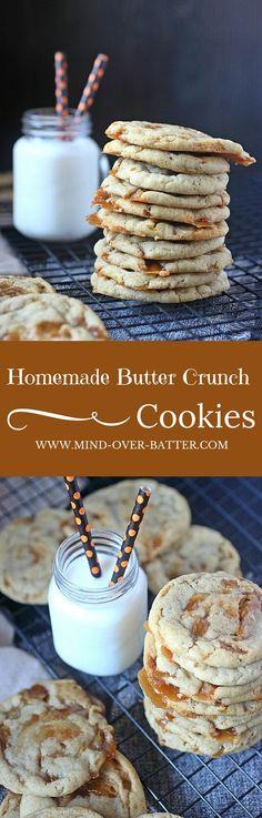 Homemade Butter Crunch Cookies -- www.mind-over-batter.com