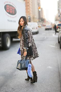 Love the leopard print coat! Follow Miss Circle for more street fashion snapshots from NYC! www.misscircle.com