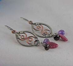 Sterling Silver Copper Ruby Amethyst Garnet Wire by AlaskaFirefly, $41.00