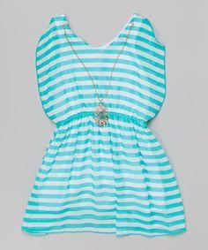 Mint Stripe Dress & Necklace - Toddler & Girls | zulily