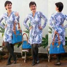 blog v@ LOOKS | por leila diniz: VESTIDO MANGA LONGA hering com estampa de azulejo