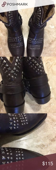 Frye Billy Studded Brown Boots 8.5 Worn a couple times Frye Billy Boots Brown size 8.5 studded ankle boots, low heel. Frye Shoes Ankle Boots & Booties