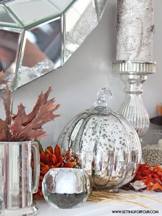 Fall Mantel Decor Ideas - see how I decorated my mantel for fall!   www.settingforfour.com