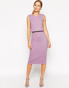 ASOS Pencil Dress In Textured Waffle With Shell Top
