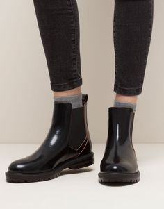 Pull&Bear - woman - women's footwear - contrasting ankle boots - black - 15180011-I2015