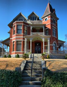 The Dibrell House, American Queen Anne style with Eastlake details, 1892 Interesting Buildings, Beautiful Buildings, Beautiful Homes, Abandoned Houses, Old Houses, Fancy Houses, Dream Houses, Victorian Architecture, Historical Architecture