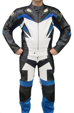 thick drum dyed top-grain cowhide leather for excellent abrasion resistance. Perforated leather on the front and zippered vents on the back to keep the rider cool. Leather stretch panels at lower back and above the knees. Leather Motorcycle Pants, Motorcycle Suit, Biker, New Blue, Blue And White, Motorbike Leathers, Yamaha Bikes, Races Style, Suits