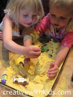 Kids Sensory Activity – Sand Castle Dough! Made with cornmeal and oil.