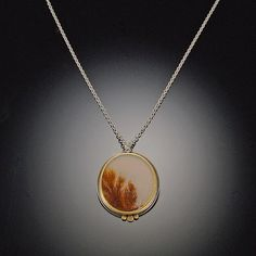 Dendritic Agate Necklace with Gold Dots