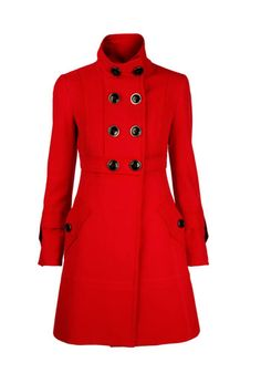This coat is red suede leather and has two pockets with two buttons, it is long and has eight buttons on the side from which fastens. Beauty And Fashion, All Fashion, Womens Fashion, Double Breasted Coat, Looks Vintage, Winter Coat, Neue Trends, Coats For Women, Preppy